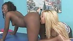 Interracial ebony -white lesbian ass massage